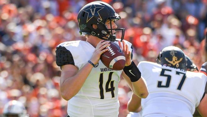Vanderbilt quarterback Kyle Shurmur passed for 221 yards against Auburn.