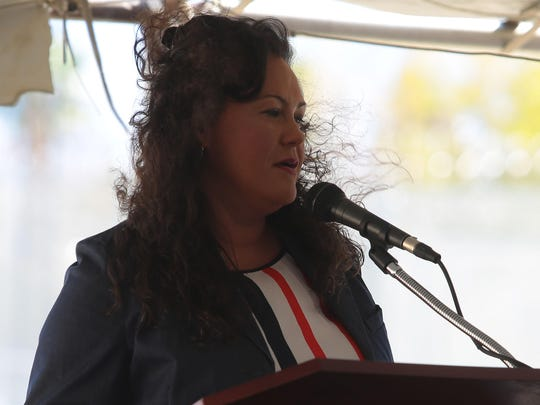 Indio mayor Lupe Ramos Watson speaks at the ground breaking ceremony for the East County Detention Center on Oasis St. in Indio on Thursday.