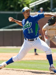Florida Gulf Coast's Mario Leon pitches during an NCAA