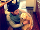 Nick Jonas shows some love for his dog, Elvis, in this sweet shot.
