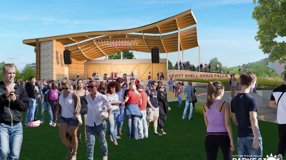 The proposed Levitt Shell amphitheater will be near Falls Park along Phillips Avenue. The venue will seat 5,000 and is expected to open in 2019.