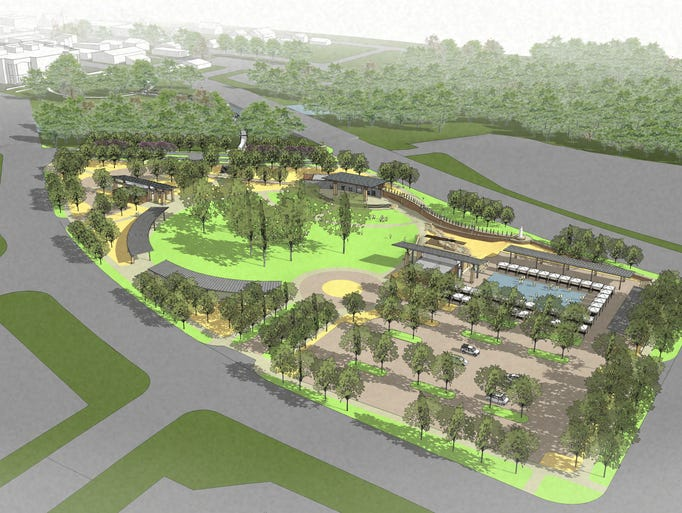 This is a rendering of West Gateway Park in Noblesville. Construction is scheduled to start in spring 2015. Source: City of Noblesville