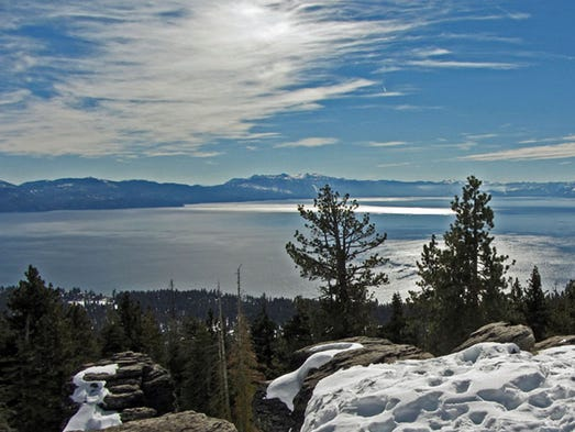 "Brockway Summit, North Lake Tahoe: Whether you live in the area or are visiting one of Tahoe's several ski resorts, this small section of the Tahoe Rim Trail just off of Highway 267 near Truckee, Calif., is a great way to take in views of the entire lake. A healthy climb (about 800 feet), this up-and-back sometimes requires snowshoes and takes about an hour for those acclimated to the mountain air, or two hours for ""flat-landers."""