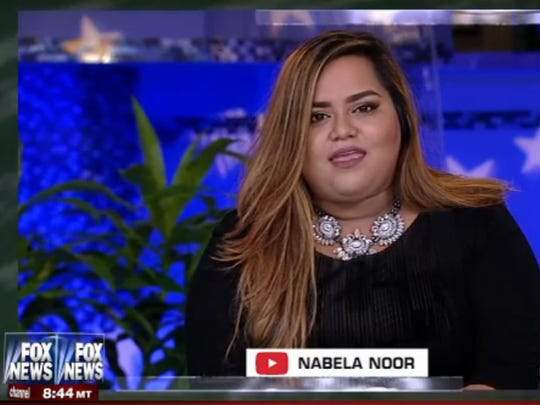 Nabela Noor, a Central York High School graduate and YouTube star, asks a question of the Republican presidential candidates during a Fox News debate in Iowa on Jan. 28, 2016.