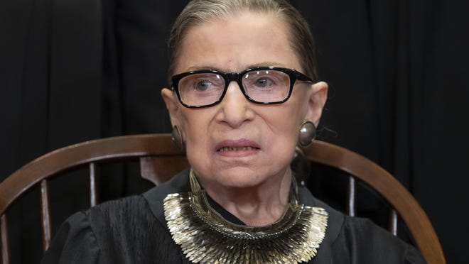 FILE - In this Nov. 30, 2018 file photo, Associate Justice Ruth Bader Ginsburg sits with fellow Supreme Court justices for a group portrait at the Supreme Court Building in Washington. The Supreme Court announced Aug. 23, 2019, that Ginsburg has been treated for a malignant tumor.