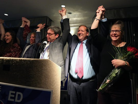 Clarkstown Supervisor George Hoehmann celebrates with