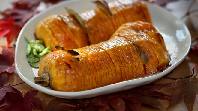 Sweet and Spicy Hasselback Butternut Squash with Bay Leaves.