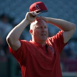 Los Angeles Angels pitching coach Mike Butcher before the game against the Cleveland Indians at Angel Stadium of Anaheim on Aug. 3, 2015.