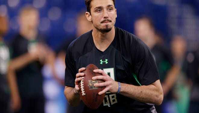 Former Memphis Tigers quarterback Paxton Lynch throws  a pass during the 2016 NFL Scouting Combine at Lucas Oil Stadium. Lynch was selected 26th overall by the Denver Broncos in Thursday's NFL draft.