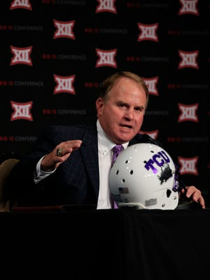 TCU Horned Frogs head coach Gary Patterson speaks to the media during the Big 12 Media Days at Omni Dallas.