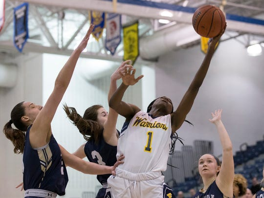 Franklin's Diamond Miller goes up with a second half shot. NV/Old Tappan vs Franklin Girls Basketball in NJSIAA quarterfinal game at Toms River on March 14, 2018