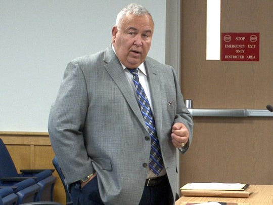 Christopher Tilton defense attorney Alton B. Kenney addresses the Manasquan municipal court Tuesday, September 22, 2015.  His client and Nicholas Formica are accused of coaxing autistic teen Parker Drake to jump off the jetty in Manasquan over the winter.