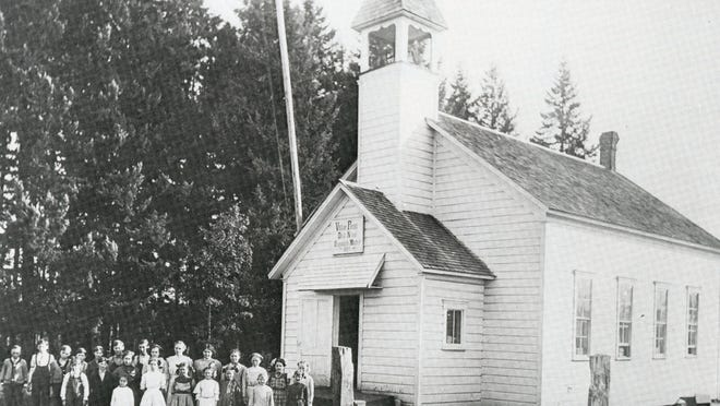 Victor Point School is seen before 1915.
