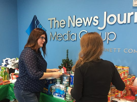 Laura Jury (left), sales manager for the News Journal, organized the newspaper's donation drive for soldiers.
