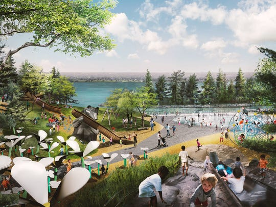This rendering of the Great Lakes Play Garden is part of the West Riverfront winning design done by Michael Van Valkenburgh Associates.