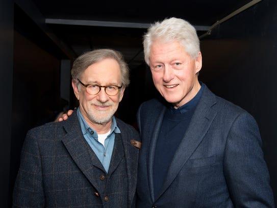 Steven Spielberg and Bill Clinton attend a screening