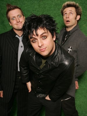 Green Day (left to right), drummer Tre Cool, vocalist/guitarist Billie Joe Armstrong and bass player Mike Dirnt, photographed Jan. 7, 2005, in New York.