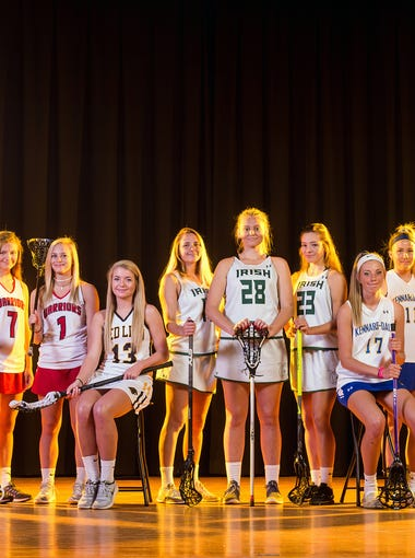 From left to right: Susquehannock's Sam McGuire, Susquehannock's Gena Speights, Susquehannock's Kenna Hancock, Susquehannock's Rachel Marshner, Red Lion's Alyssa Adams, York Catholic's Kayleigh Pokrivka, York Catholic's Anna Linthicum, York Catholic's Amanda Tufano, Kennard-Dale's Gillian Zimmerman, Kennard-Dale's Emmie Dressel, Kennard-Dale's Morgan Bowings and Kennard-Dale's Megan Halczuk.GameTimePA's all-star girls' lacrosse players. Picture taken Sunday, May 21, 2017, at West York.