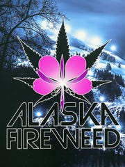 A sign on the front door of the Anchorage-based Alaska Fireweed marijuana store. Fireweed is the state flower, and marijuana is newly legal for sale in the 49th state.