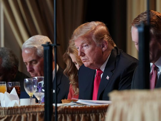 President Donald Trump attends the 2019 National Prayer Breakfast on Feb. 7, 2019, in Washington, D.C.