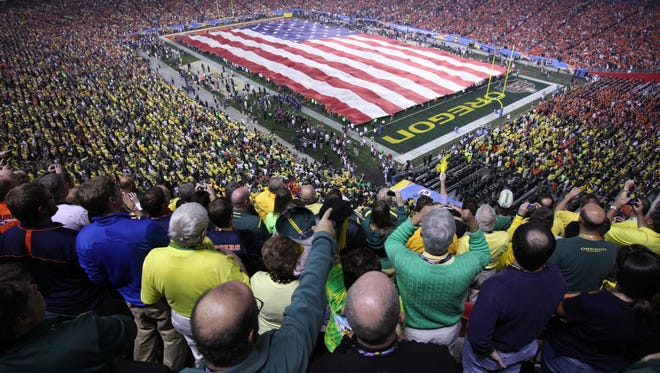 Glendale hosted four title games, including this 2011 game, during the Bowl Championship Series era, when the top game was rotated among the sport's premier bowl sites.