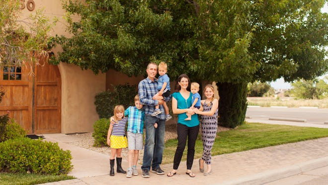 The Biad family stands in front of the new Acton Academy in Mesilla. From L-R: Emma, Simon, Chris, Matt, Anna, Zach and Sara Biad. Anna Emerick-Biad decided to open the private school after being unable to find suitable educational options for her children.