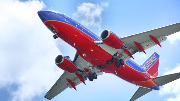 A Southwest Airlines jet gets ready to land at Tampa