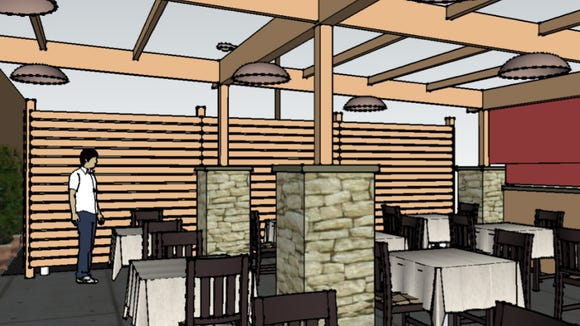 Rendering of new outdoor dining at Sapori in Collingswood.