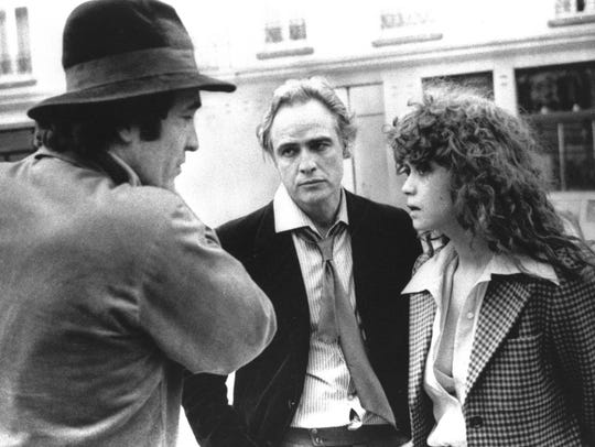 Director Bernardo Bertolucci, Marlon Brando and Maria Schneider during filming of 'Last Tango in Paris' in 1972.