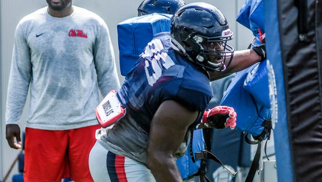 Ole Miss defensive tackle Benito Jones (95) is one of the Rebels' top defensive linemen, along with Marquis Haynes.