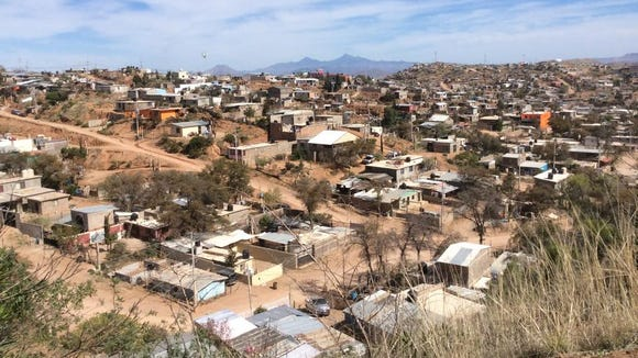 A view of a Mexican factory community district in Nogales,