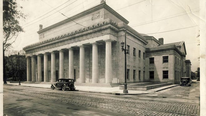 Louisville Memorial Auditorium at Fourth and Kentucky streets is  shown in 1929, two years after it was dedicated.
