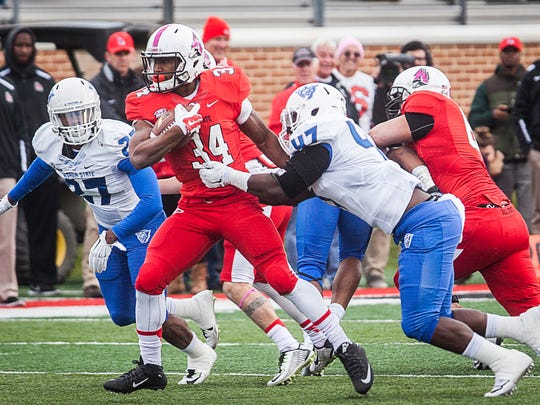 Ball State faces off against Georgia State during their game at Scheumann Stadium Saturday, Oct. 17, 2015.