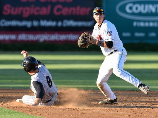 Brett Pope tries to turn a double play for the St. Cloud Rox during Thursday's game against La Crosse at Joe Faber Field in St. Cloud.