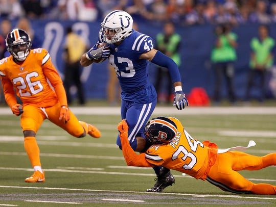 Indianapolis Colts tight end Ross Travis (43) attempts