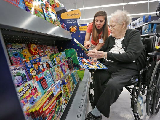 Martha Wolfe, right, shops at Walmart with Jessica Strausbaugh for the family of fallen Boone County Sheriff's Deputy Jacob Pickett, Tuesday, April 24, 2018.  Wolfe, a resident of Wellbrooke of Westfield, received a special wish as part of her senior living community's Live a Dream project.  She wanted more than anything to pay it forward, so she used her wish to buy $500 of things for the Pickett family.