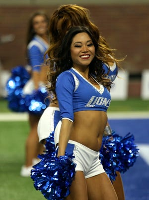 The Detroit Lions cheerleaders perform during the home opener game against the Tennessee Titans on Sunday, September 18, 2016 at Ford Field in Detroit.