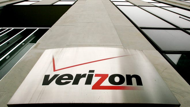 A file photo dated 12 April 2006 showing a sign on the side of one of the Verizon buildings in New York.
