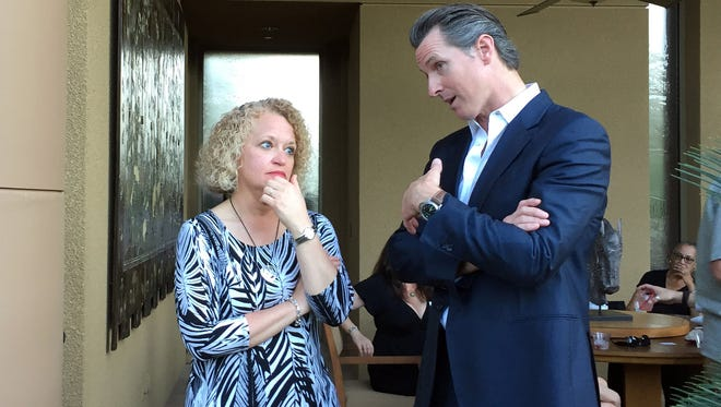 Salt Lake City Mayor Jackie Biskupski and California Lt. Gov. Gavin Newsom both spoke about fighting to protect the civil rights of the LGBT community at the National Center for Lesbian Rights' annual Palm Springs Garden Party on Saturday, April 2, 2016.