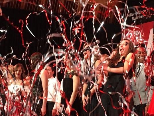 Confetti rains down on Ball State University cabaret