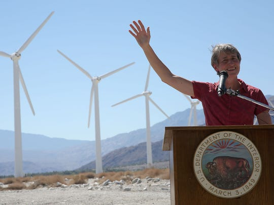 Then-Interior Secretary Sally Jewell announces a draft version of the Desert Renewable Energy Conservation Plan at a North Palm Springs wind farm on Sept. 23, 2014.