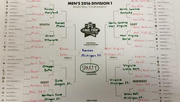 Mitchell Northam's 2016 NCAA tournament bracket.