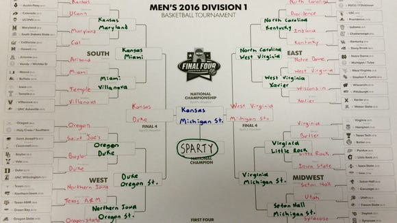 Mitchell Northam's 2016 NCAA tournament bracket.