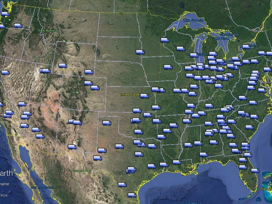 A map shows the general locations of a chain of light-maintenance