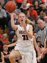 Buckeye Central's Kyleigh Brown makes a shot during the Division IV regionals against Cornerstone Christian at Massillon Perry High School on Saturday.