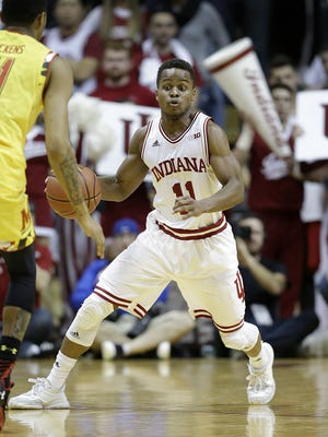 Indiana Hoosiers guard Yogi Ferrell (11) looks to put a move on Maryland Terrapins guard Jared Nickens (11) in the second half of their B1G men's basketball game Sunday, Mar 6, 2016, afternoon at Assembly Hall in Bloomington. The Indiana Hoosiers defeated the Maryland Terrapins 80-62.
