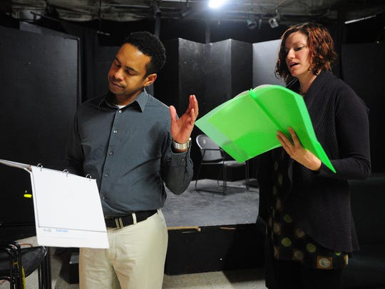 """Jackie Robertson rehearses with Catharine Arceneaux for a 2014 performance of Jermaine Ayinde Warner's """"Conversations with My Wife."""" Cité des Arts and its cozy theater serve as the prime stage for local actors with plays constantly on the calendar."""