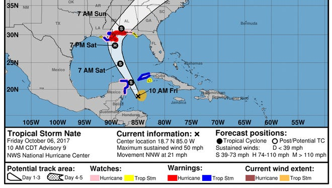 Tropical Storm Nate advisory from the National Hurricane Center as of 10 a.m. Friday