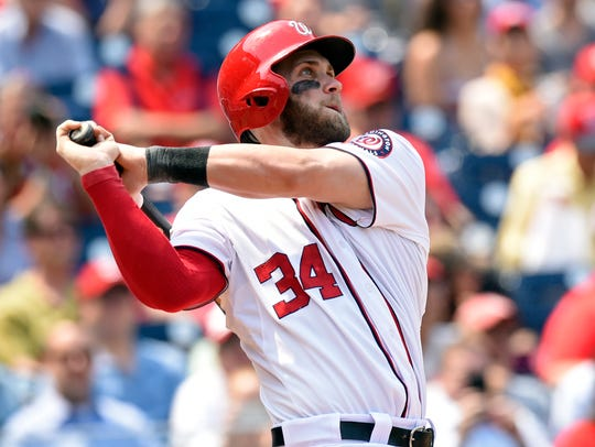 Bryce Harper hits a home run for the Nationals against