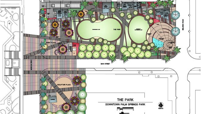 The site plan of the park proposed in downtown Palm Springs. The building on the left is the Palm Springs Art Museum.